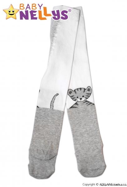 Bavlnené pančucháče Baby Nellys ® -   Mačička sivá / biela