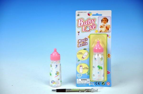 Dojčenská fľaštička s mliekom plast 12cm na karte