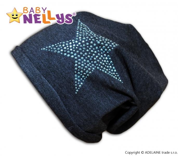 Bavlnená čiapočka Baby Nellys ® - Hviezda modrá