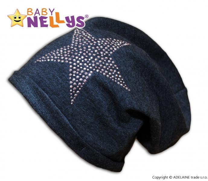 Bavlnená čiapočka Baby Nellys ® - Hviezda ružová, veľ. 48-54 cm