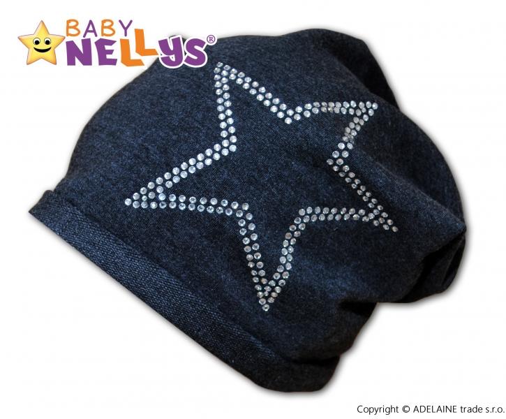 Bavlnená čiapočka Baby Nellys ® - Hvezdička/ strieborný lem