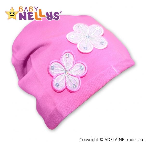 Bavlnená čiapočka Kvetiny Baby Nellys ® -ružová
