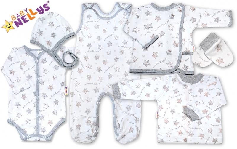 Soup. do pôrodnice 7D Baby Nellys®- hvezdičky šedé