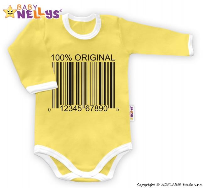 Baby Nellys Body dlhý rukáv 100% ORIGINÁL - žlté / biely lem, veľ. 74