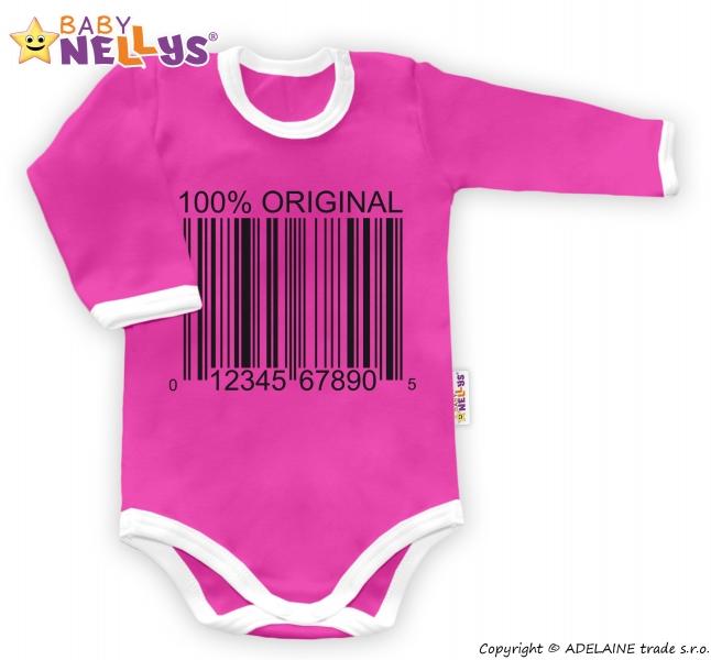 Baby Nellys Body dlhý rukáv 100% ORIGINÁL - ružovo / biely lem