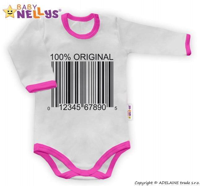 Baby Nellys Body dlhý rukáv 100% ORIGINÁL - sivé / ružový lem, veľ. 56