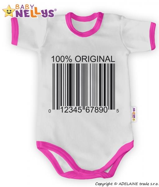Baby Nellys Body krátky rukáv 100% Originál - sivo / ružový lem lem