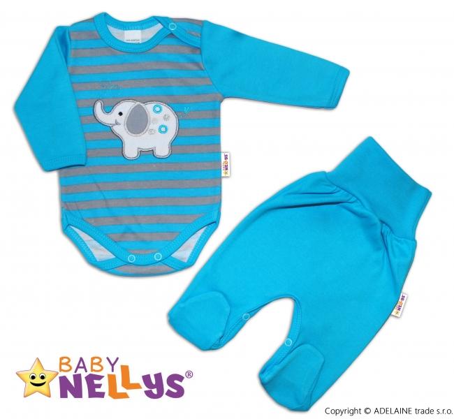 2D Súprava body dl. rukáv + polodupačky Baby Nellys ® - Sloník - prúžok tyrkys