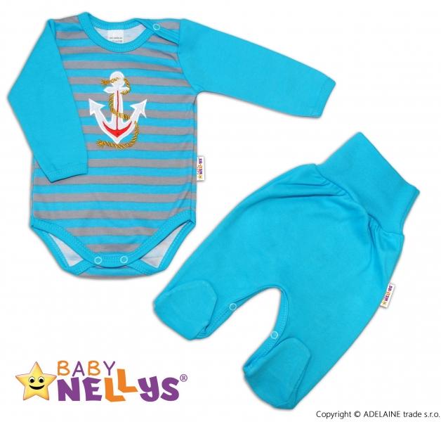 2D Súprava body dl. rukáv + polodupačky Baby Nellys ® - Kotvička - prúžok tyrkys