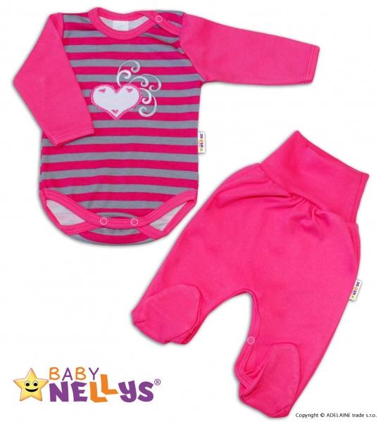 2D Súprava body dl. rukáv + polodupačky Baby Nellys ® - Srdiečko - prúžok tm. ružový