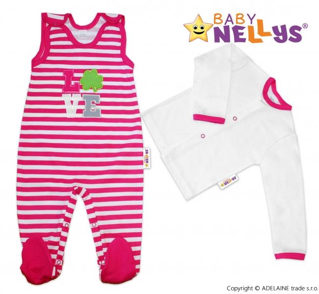 2D Súprava košieľka zap. uprostred + dupačky Baby Nellys ® -  Love - prúžok tm. ružový