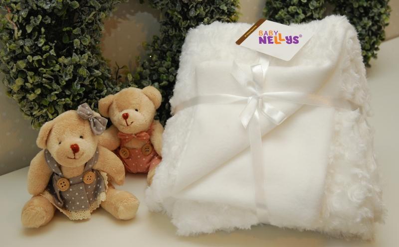 Luxusná deka s kožušinkou - biela