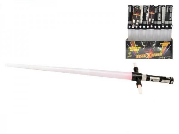 Laserový meč svietiace skladacie plast 86cm na batérie a zvukom 3 farby