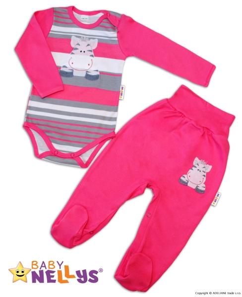 2D Súprava body dl. rukáv + polodupačky Baby Nellys ® - Zebra - pruhy - ružové