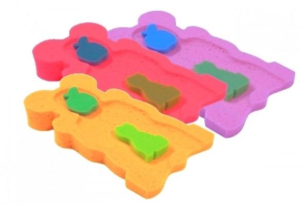 BADO Matračku - huba na kúpanie bábätiek MINI - červená / ružová / oranž, fialové