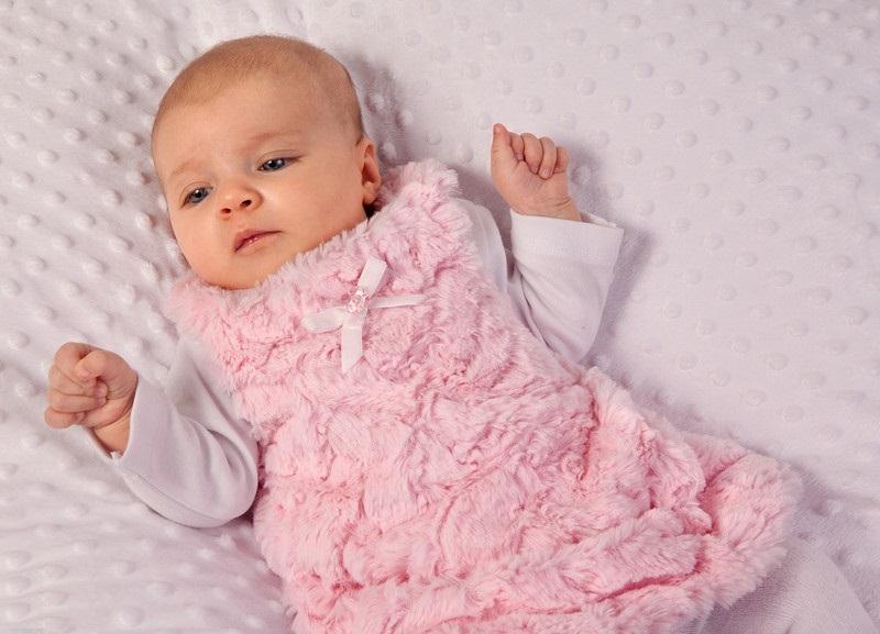 Šatičky / tunika s kožušinkou Baby Nellys ® - ružové