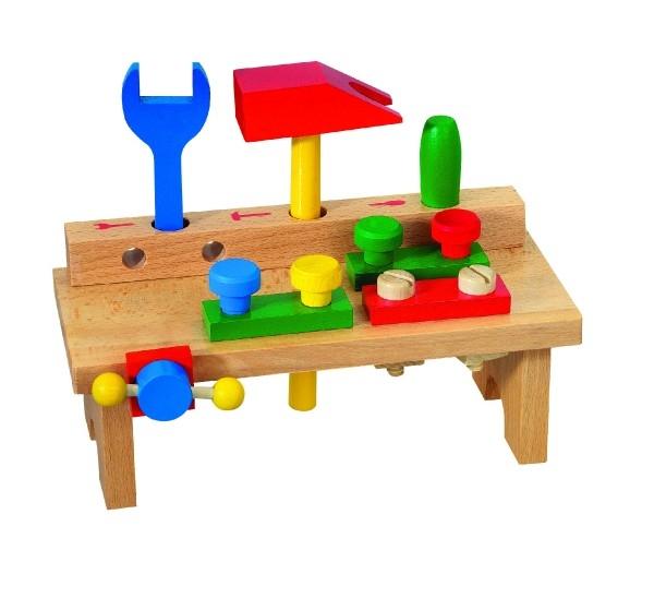 Teddies Stôl s náradím drevo 8ks v krabici 25x14x12cm