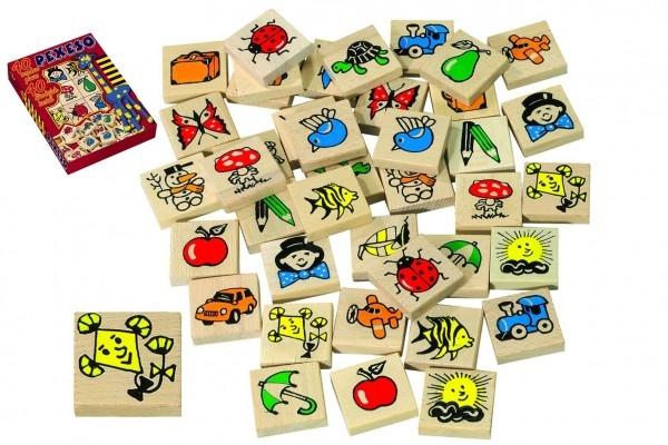 Teddies Pexeso drevo spoločenská hra 40ks v krabici 17x25x2cm