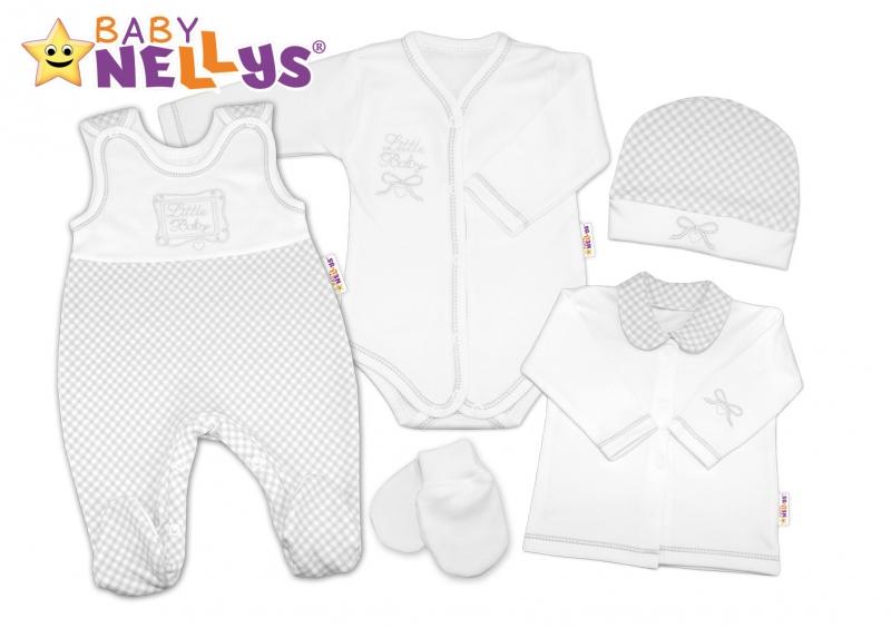 Súprava do pôrodnice Baby Nellys - Little Baby - sivá kostička
