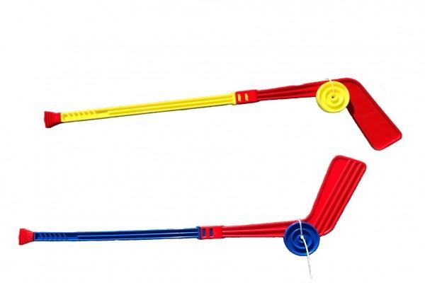 Teddies Hokejka plastová s pukom 74cm mix farieb