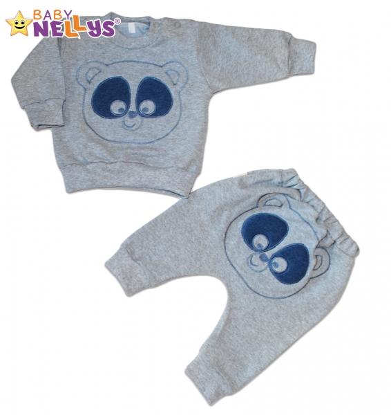 Tepláková súprava Baby Nellys -  MEDVEDÍK - šedá s modrou