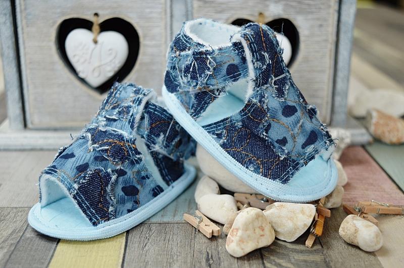 LOLA BABY Jeansové capáčky /sandálky - modré