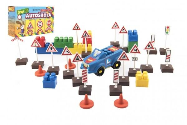 Stavebnica LORI 11 Autoškola Dopravné značky 16ks + 2 kužele + auto plast v krabici 22x13
