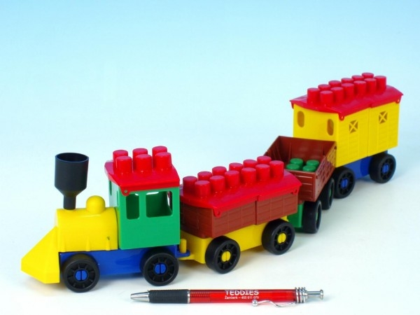Stavebnica LORI 6 vlak + 3 vagóniky plast v sáčku