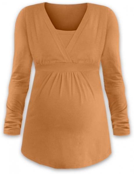 JOŽÁNEK Dojčiace aj tehotenská tunika ANIČKA s dlhým rukávom - sv oranžová, veľ. L/XL