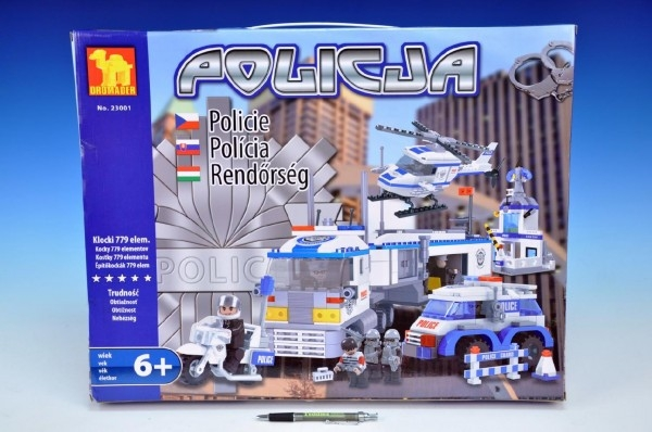 Stavebnica Dromader Polícia Auto + Vrtuľník + Stanica 23001 779ks v krabici 55x43x7cm