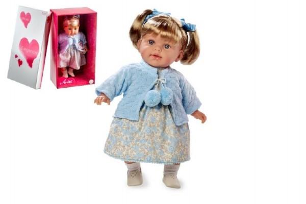 Teddies Bábika voňajúce 42cm modré šaty smejúci sa mäkké telo na batérie v krabici