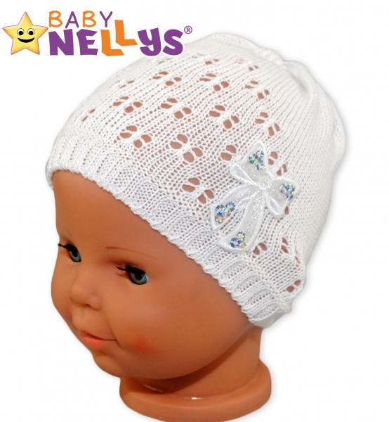 Háčkovaná čiapočka Mašle Baby Nellys ® - s flitry-42/46 čepičky obvod