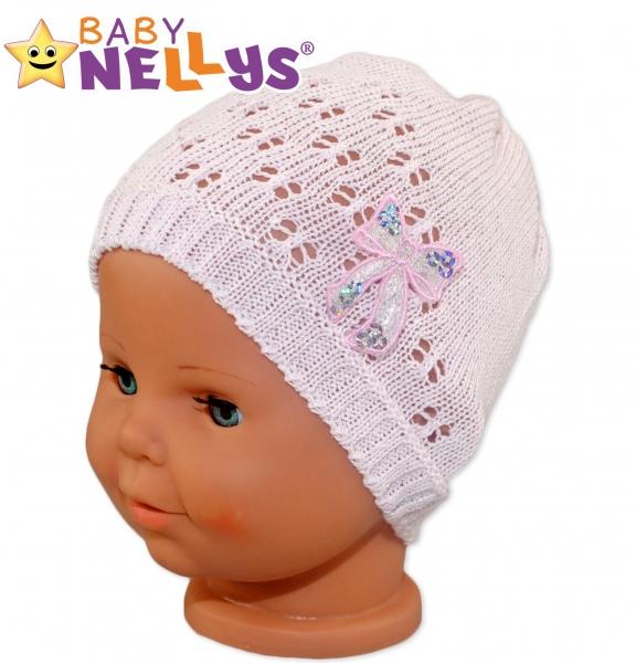 Háčkovaná čiapočka Mašle Baby Nellys ® - s flitry-#Velikost koj. oblečení;42/46 čepičky obvod