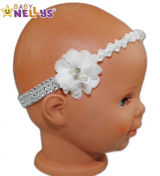 Ozdobná čelenka - satenová s kytičkou a perličkami - biela