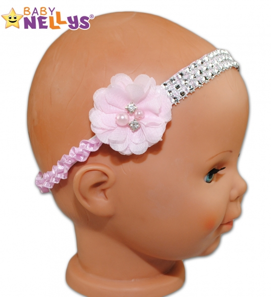 Ozdobná čelenka - satenová s kytičkou a perličkami - ružová