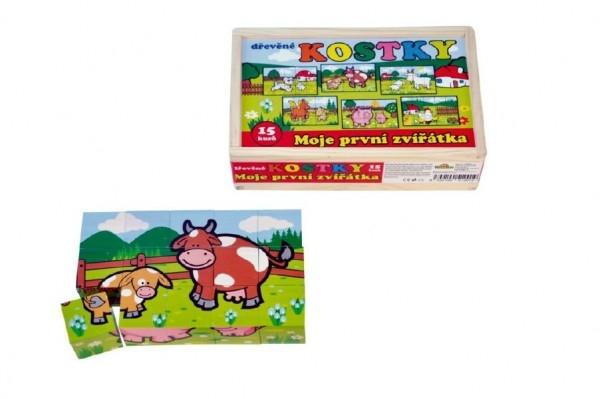 Teddies Kocky kubus Moje prvé zvieratká drevo 15ks v drevenej krabičke 20x13x5,2cm