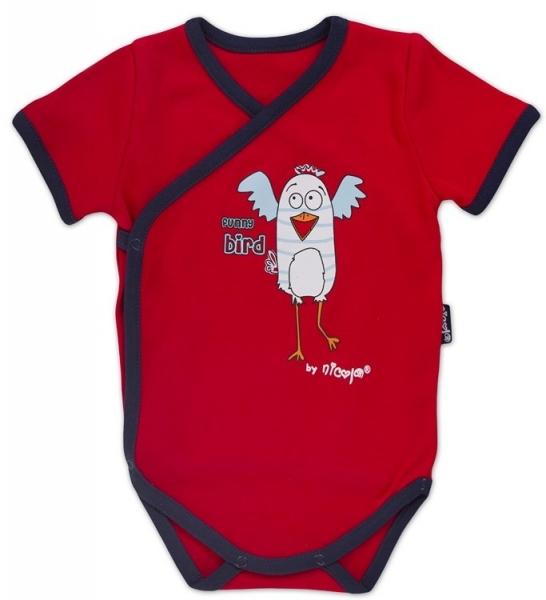 Body kr.rukáv zap. bokom s potlačou Little Funny Birds - červená, VÝPREDAJ, 62 (2-3m)