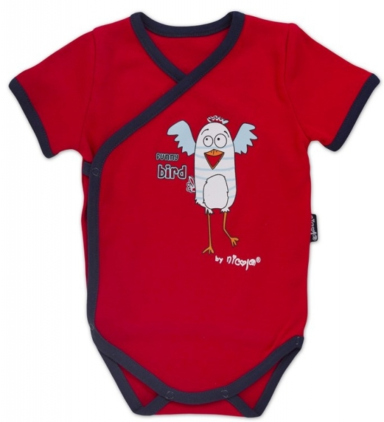 Body kr.rukáv zap. bokom s potlačou Little Funny Birds - červená, VÝPREDAJ, 68 (4-6m)