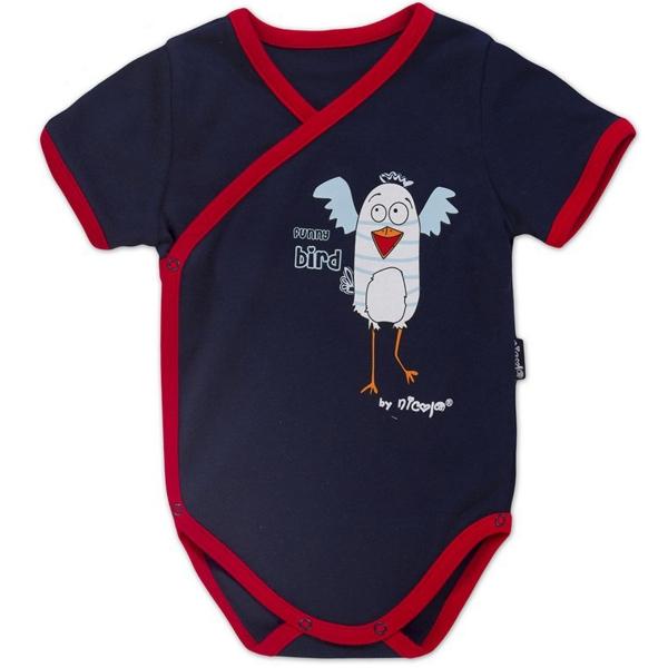 Body kr.rukáv zap. bokom s potlačou Little Funny Birds - granátová, VÝPREDAJ, 62