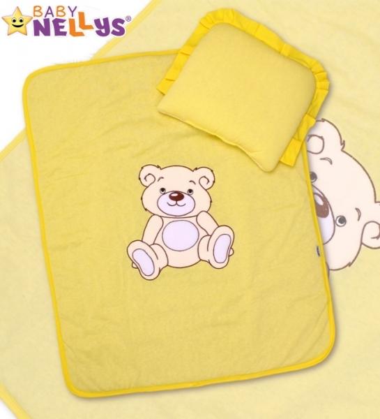 Sada do kočíka jersey Medvedík Teddy Baby Nellys - krémovo žltá