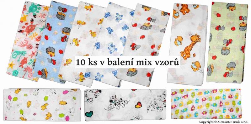 Bavlnené plienky  - TETRA 70x80cm, 10ks v bal. - Mix vzorov a farieb