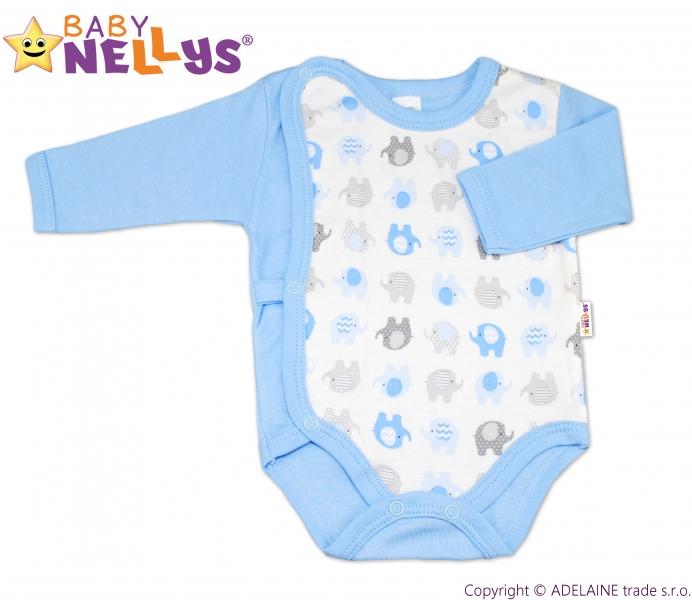 Body dl. rukáv zips. na boku Baby Nellys ®- Sloníky - modré