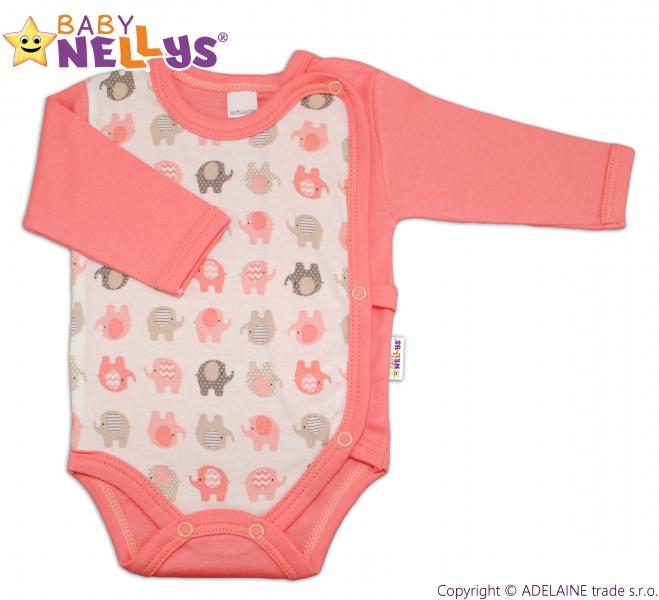 Body dl. rukáv zips. na boku Baby Nellys ®- Sloníky - losos