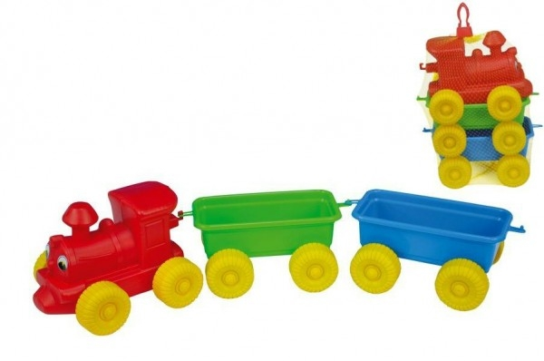 Teddies Vlak + 2 vagóny plast 60cm v sieťke