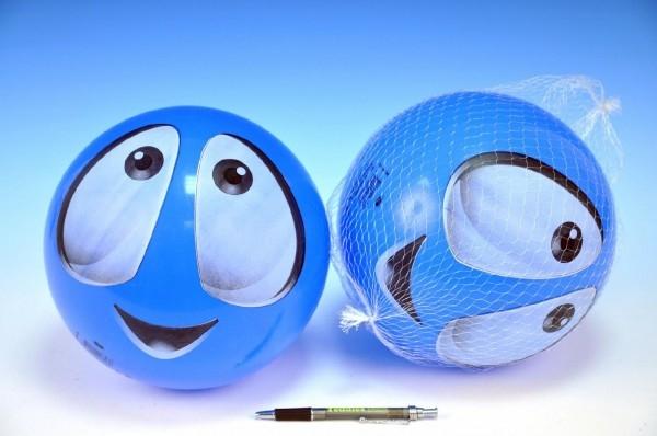 Loptu smajlík modrý 22cm v sieťke