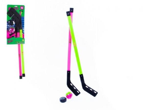 Teddies Hokejka pozemné plast 78cm 2ks + florbalová loptička + puk na karte