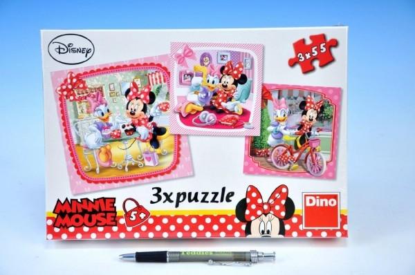 Puzzle Minnie na návšteve 3x55 dielikov 18x18cm v krabici