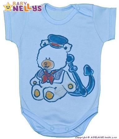 Body Kr. rukáv Baby Nellys ® - Medvedík - námorník - modré, 80 (9-12m)