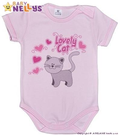 Body kr. rukáv Baby Nellys ® - Roztomilá mačička - sv. růžové, 80 (9-12m)
