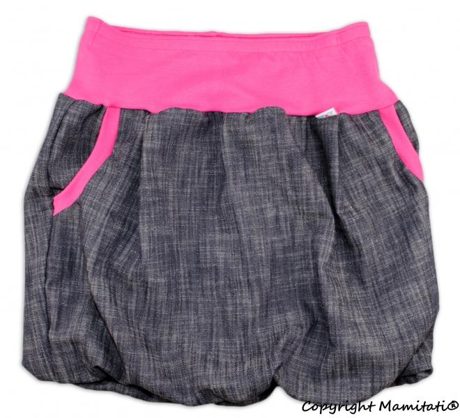 Balónová sukně NELLY  - jeans denim black/ růžové lemy